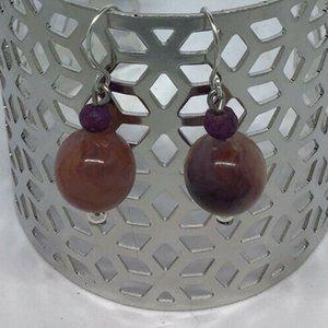 Artisan Earrings Silver Tone Stone Bead Dangle